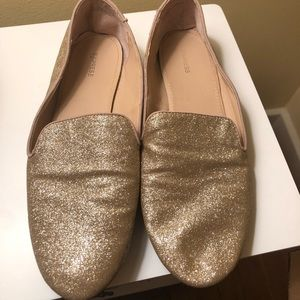 Express Gold Glitter Loafers